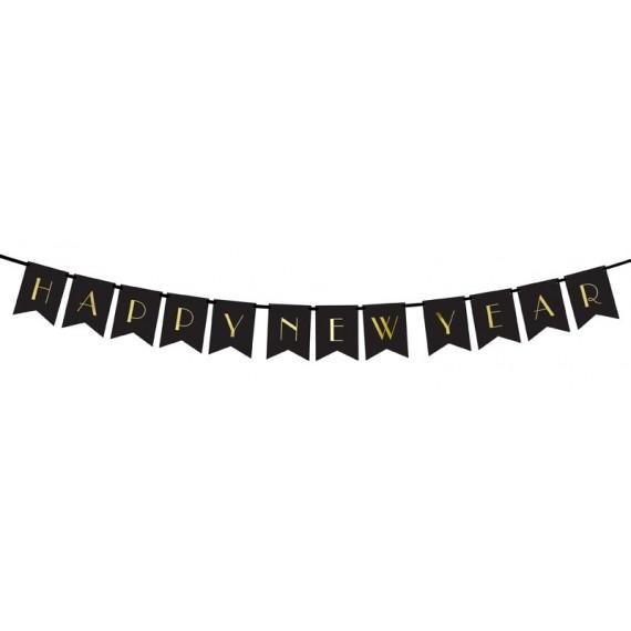 Guirnalda de Happy New Year de color Negro de 15 x 170 Centímetros