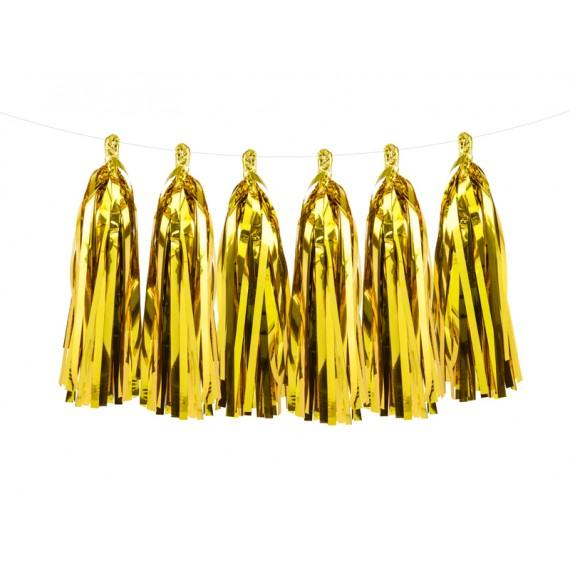 .Guirnalda de Borlas de 1,5 Metros de color Oro