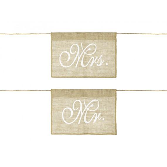 Cartel de Mr y Mrs de 30 x 21,5 Centímetros para Sillas