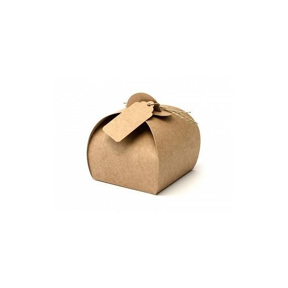 Caja de Papel Kraft 10 Unidades con Etiqueta de 6 x 6 x 5,5 Centímetros
