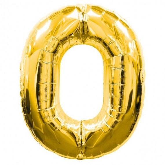.Globo de Número 0 de 86 Centímetros de color Oro