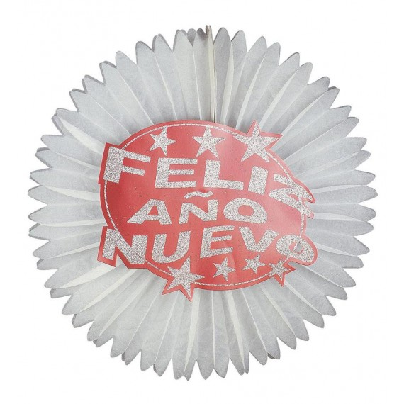 Abanico de Papel de Feliz Año Nuevo de 55 Centímetros con Purpurina Roja