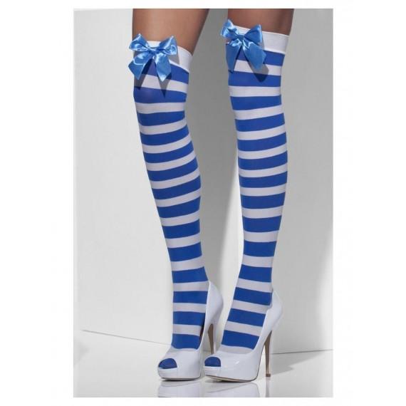 Medias Opacas a Rayas de color Blanco y Azul con Lazos para Adulto