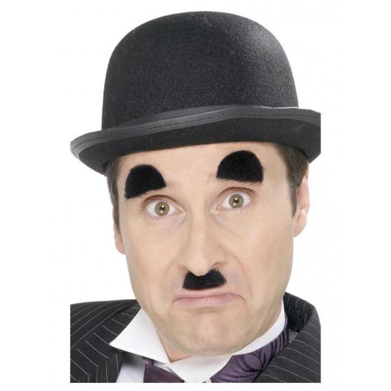 Bigote y Cejas Negro de Chaplin Autoadhesivos para Adulto