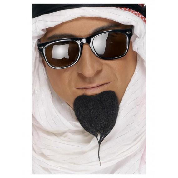 Barba Negra de Jeque Árabe Autoadhesiva para Adulto