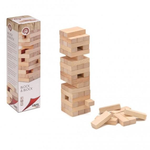 Pack de 54 Bloques de Madera para Jenga de mesa de 2,3 x 1,5 x 6,9 Centímetros