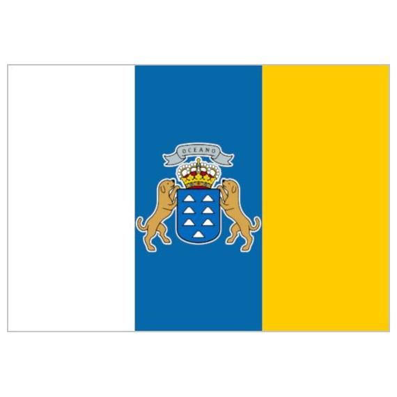 Bandera de Canarias Con Escudo de Poliéster Microperforada Reforzada