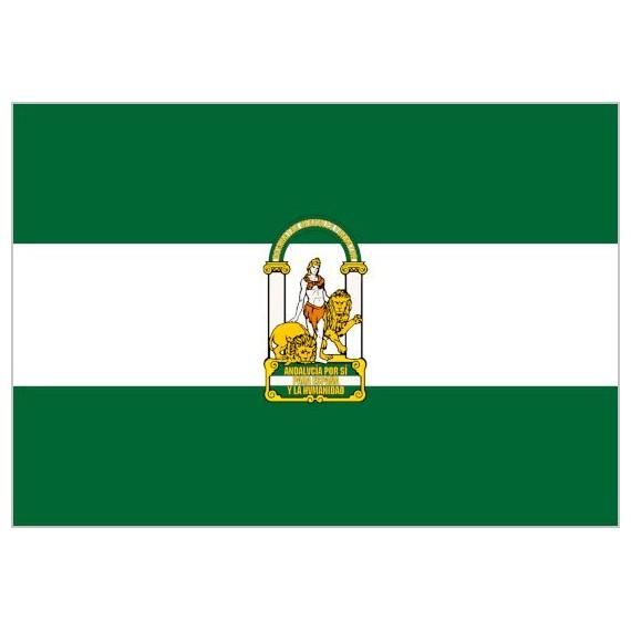 .Bandera de Andalucía Con Escudo de Poliéster Microperforada Reforzada