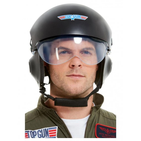 Casco de Piloto de Top Gun Deluxe de color Negro para Adulto