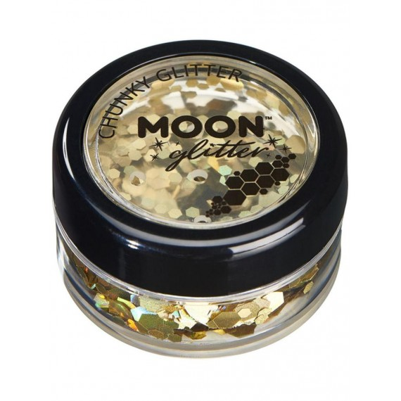 Purpurina Gruesa Moon Glitter Holographic de color Oro
