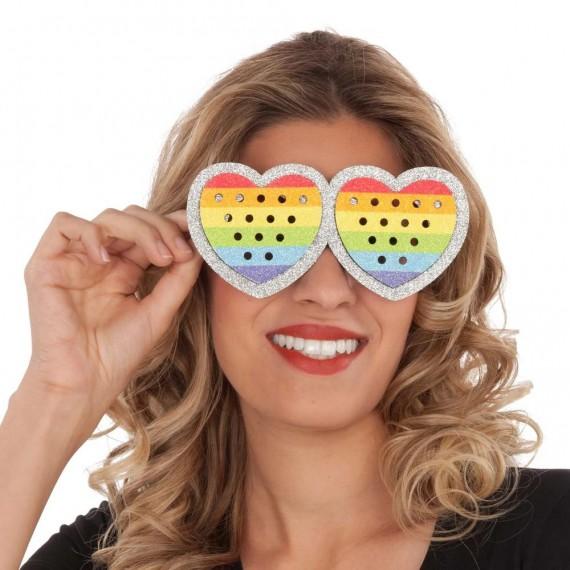 Gafas de Corazón Rainbow para Adulto