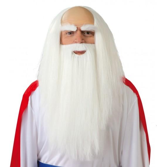 Peluca y Barba Blanca de Druida para Adulto