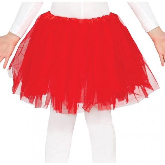Tutú de 30 Centímetros de color Rojo Infantil