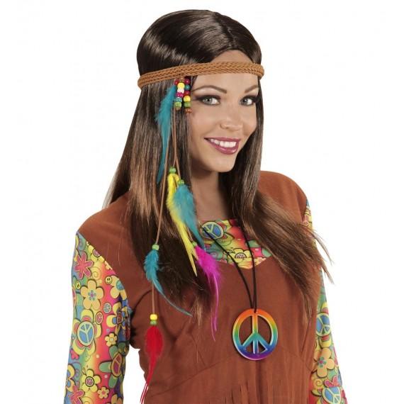 Cinta para la Cabeza de Hippie con Perlitas y Plumas para Adulto