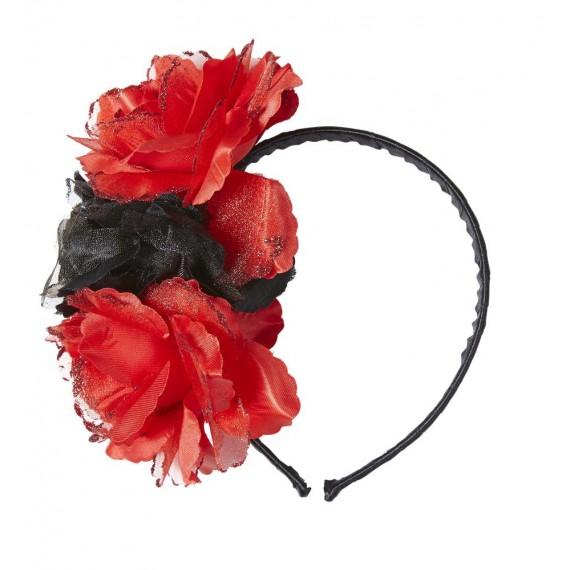 Diadema de Rosas de color Rojo y Negro con Purpurina para Adulto