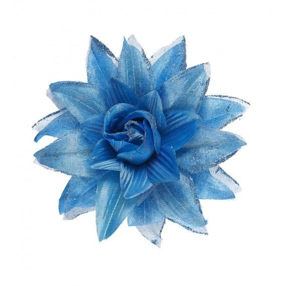 Flor con Pinza para el Pelo de color Azul y Purpurina