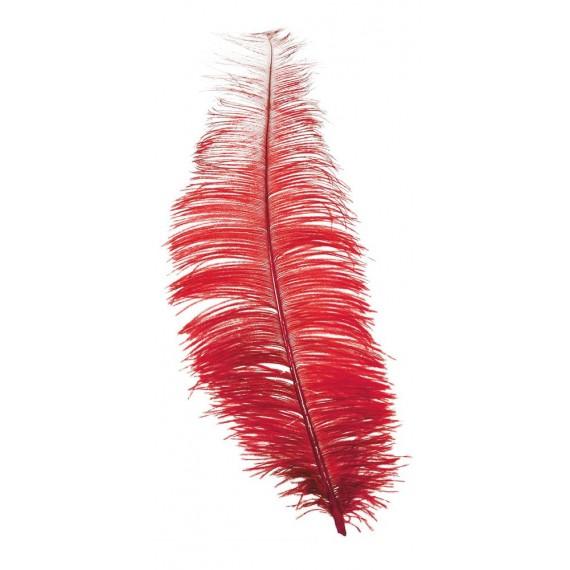 Pluma de Avestruz de 30 Centímetros de color Rojo